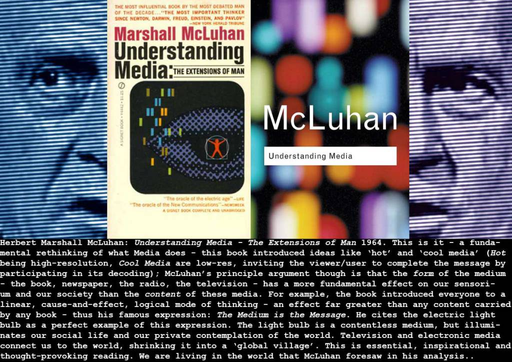 marshall mcluhan understanding media essay In this essay, i shall cover some information about marshall mcluhan, his theories, and analyze the nintendo wii gaming console using a tetrad of questions to explain his theory marxism and capitalist society at its core, marxism.